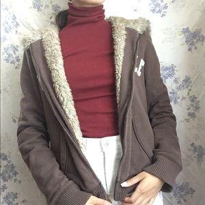 Aeropostale sherpa lined zip-up brown hoodie